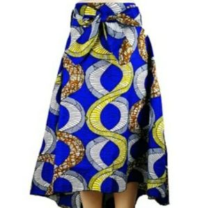 Blue and gold asymmetrical high/low skirt